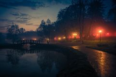 City Park Reflections at Night royalty free stock photo