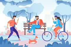 City park with relax people with cellphone, dog on bench, bicycle. royalty free illustration