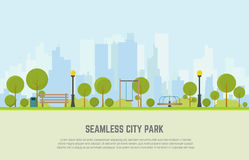 City park seamless background. Seamless city park bench, lawn and trees, trash can, swings and carousels. Flat style vector. On background business city center Royalty Free Stock Photography