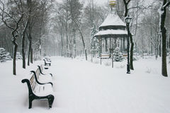 City park with shops in the winter. City park with pavilion and shops in the winter Stock Photography