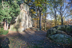 City Park, silence and solitude, trees, sunshine, yellow foliage in Prague in autumn Royalty Free Stock Images