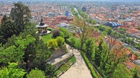 City park and skyline of Graz. Austria royalty free stock photo
