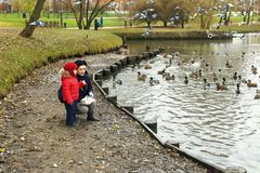 11/02/2017, Moscow, Russia, Tsaritsino Park, a boy and a woman f Royalty Free Stock Image