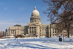 City park with snow and the Capital in Boise Idaho Stock Photography
