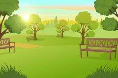 City Park or Square with Trees on Meadow Vector royalty free illustration