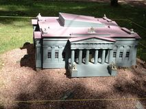 Mock-up of the building of the museum of Ukrainian art at the exhibition of cues in miniature. City park summer open air mock-up of the building of the museum of royalty free stock image
