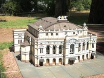 Mock-up of the building of the opera and ballet theater at the exhibition of cues in miniature. City park summer open air mock-up of the building of the opera royalty free stock image