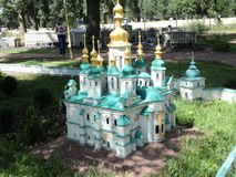 Mock-up of the Uspenskiy cathedral at the exhibition of cues in miniature. City park summer open air mock-up of the Uspenskiy cathedral at the exhibition of cues stock image