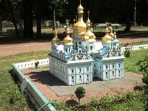 Mock-up of the Uspenskiy cathedral at the exhibition of cues in miniature. City park summer open air mock-up of the Uspenskiy cathedral at the exhibition of cues royalty free stock images