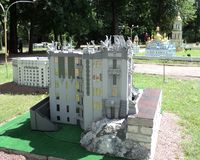 Layout of the building with the exhibition of cues in miniature... City park summer outdoor air layout of the building with the exhibition of cues in miniature stock photo