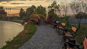 City Park at sunset stock footage