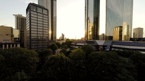 City park trees. skyline cityscape background at sunset. Skyline cityscape background at sunset sky stock footage