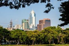 City park under blue sky with Downtown Stock Photos