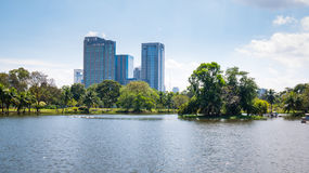 City park under blue sky. With Downtown Skyline in the Background Royalty Free Stock Images