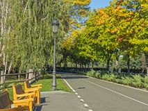 City park urban outdoor decor, elements parks and alleys. Beautiful park in autumn summer day royalty free stock images
