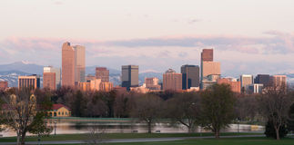 City Park View Ferril Lake Downtown Denver Skyline Sunrise Stock Images