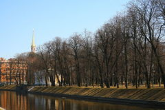 The city Park view of the Mikhailovsky garden and the engineering ( Mikhailovsky ) castle in St. Petersburg, Russia. Royalty Free Stock Image