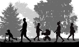 City park. Walking people silhouettes, vector vector illustration