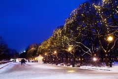 City park on winter season, festive christmas garlands lights on trees, walking people, beautiful romantic snowy night street stock photos