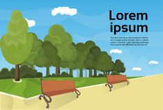City Park Wooden Bench, Green Lawn And Trees On Template Background. Flat Vector Illustration Royalty Free Stock Images