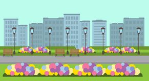City park wooden bench street lamp green lawn flowers template cityscape background flat banner. Vector illustration stock illustration