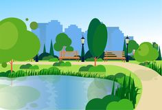 City park wooden bench street lamp river green lawn trees on city buildings template background flat. Vector illustration vector illustration