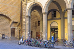 City Parking - Florence. Bicycle parking in  Pellicceria Street Via - Florence, Tuscany, Italy, 4 October 2011 Royalty Free Stock Photos
