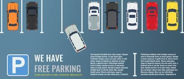 City parking lot with a group of different cars top view. Public car-park. Vector Flat illustration for web or poster. City parking lot with a group of different stock illustration