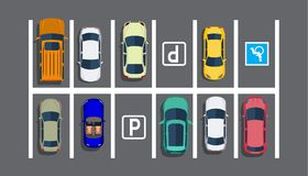 City Parking Lot With Different Cars. Stock Photo