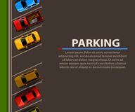 City parking vector web banner. Shortage parking spaces. Many cars in a crowded parking. Parking zone. Royalty Free Stock Image