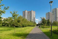 In city parks. MOSCOW, RUSSIA - 23 JULY, 2017: Walking area on a warm summer evening in a recreation area in Altufevo, Moscow Royalty Free Stock Photos