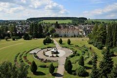 City and parkview in Villingen-Schwenningen, Baden-Württemberg, Germany. Park named `Rosegarden` and a part of the city Villingen-Schwenningen, Black-forest royalty free stock photo