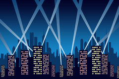 City party. Party in the city with laser light show Stock Image
