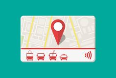 City pass card. City pass. Bus, train, subway, taxi travel ticket with cashless payment system. Card with map of city with roards and houses. Vector illustration Royalty Free Stock Photography