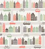 City pattern. Seamless background with colorful city silhouette Royalty Free Stock Photo