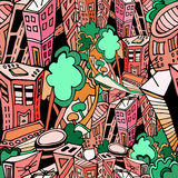 City pattern1. City seamless pattern, vector image Royalty Free Stock Photo