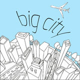 City pattern20. Unusual perspective of the city, drawn sketch, vector illustration Stock Photography