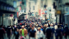 City Pedestrian Traffic Brussels Tilt Shift. V53. City pedestrian traffic shot on a busy Brussels shopping street using a tilt shift effect and added color stock footage