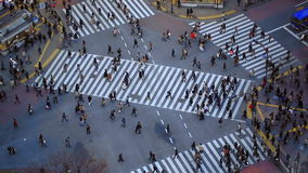City Pedestrian Traffic Shibuya Tokyo. V60. City pedestrian traffic of people crossing the famous Shibuya intersection in Tokyo stock video