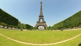 City Pedestrian Traffic Time Lapse Eiffel Tower Fisheye stock video footage