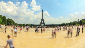 City Pedestrian Traffic Time Lapse Eiffel Tower Fisheye stock video footage