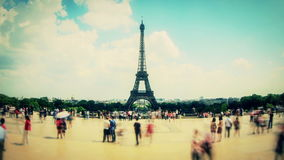 City Pedestrian Traffic Time Lapse Eiffel Tower Fisheye Zoom stock video footage