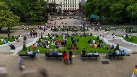 City Pedestrian Traffic Time Lapse Paris Cityscape Fisheye Pan stock video
