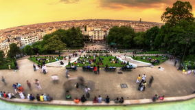 City Pedestrian Traffic Time Lapse Paris Cityscape Fisheye stock video
