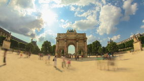 City Pedestrian Traffic Time Lapse Paris Fisheye stock footage
