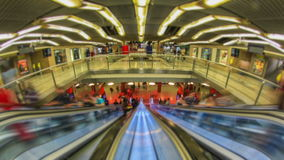 City Pedestrian Traffic Time Lapse Subway Station Fisheye stock video footage