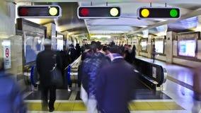 City Pedestrian Traffic Time Lapse Tokyo Train Station. V22. City pedestrian traffic time lapse in a Tokyo train station stock footage