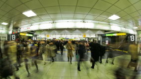 City Pedestrian Traffic Time Lapse Tokyo Train Station. V90. City and pedestrian traffic time in Tokyo subway stock footage