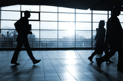 City people 2. City people walking in a futuristic tunnel Royalty Free Stock Photo