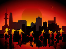 City and people. Illustration of sity and people Stock Photos